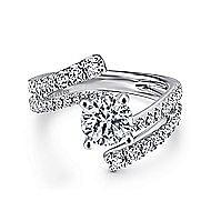Umbra 14k White Gold Round Bypass Engagement Ring angle 1