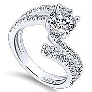 Umbra 14k White Gold Round Bypass Engagement Ring angle 3