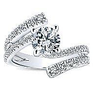 Umbra 14k White Gold Round Bypass Engagement Ring angle 5
