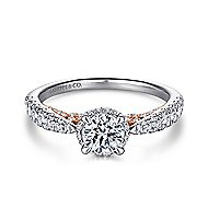 Uva 14k White And Rose Gold Round Straight Engagement Ring angle 1