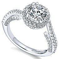 Valencia 14k White Gold Round Halo Engagement Ring angle 3