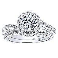 Valencia 14k White Gold Round Halo Engagement Ring angle 4