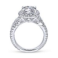 Valeriana 18k White Gold Round Halo Engagement Ring angle 2