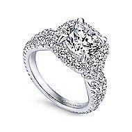 Valeriana 18k White Gold Round Halo Engagement Ring angle 3