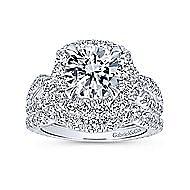 Valeriana 18k White Gold Round Halo Engagement Ring angle 4