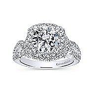 Valeriana 18k White Gold Round Halo Engagement Ring angle 5