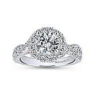 Vanessa 14k White And Rose Gold Round Halo Engagement Ring