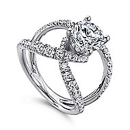 Vega 14k White Gold Round Split Shank Engagement Ring angle 3