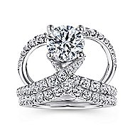 Vega 14k White Gold Round Split Shank Engagement Ring angle 4