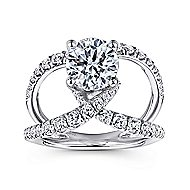 Vega 14k White Gold Round Split Shank Engagement Ring angle 5