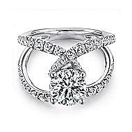 Vega 18k White Gold Round Split Shank Engagement Ring angle 1