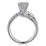 Vega 18k White Gold Round Split Shank Engagement Ring angle 2