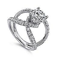Vega 18k White Gold Round Split Shank Engagement Ring angle 3
