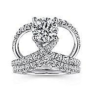 Vega 18k White Gold Round Split Shank Engagement Ring angle 4