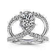 Vega 18k White Gold Round Split Shank Engagement Ring angle 5