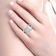 Vega 18k White Gold Round Split Shank Engagement Ring angle 6