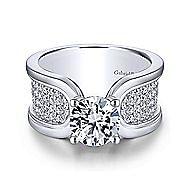 Velma 14k White Gold Round Straight Engagement Ring angle 1