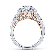 Venetia 14k White And Rose Gold Oval Double Halo Engagement Ring angle 2