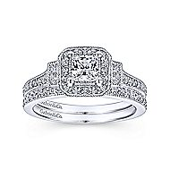 Venus 14k White Gold Princess Cut 3 Stones Halo Engagement Ring angle 4