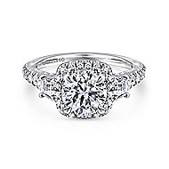 Verline 18k White Gold Round Halo Engagement Ring angle 1