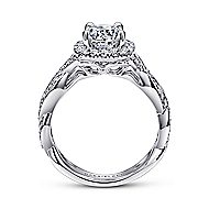 Verona 18k White Gold Round Halo Engagement Ring angle 2
