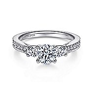 Vida 14k White Gold Round 3 Stones Engagement Ring angle 1