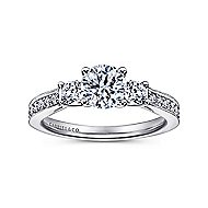 Vida 14k White Gold Round 3 Stones Engagement Ring angle 5