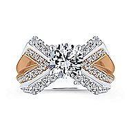 Villa 14k White And Rose Gold Round Split Shank Engagement Ring