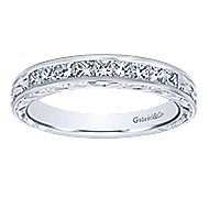 Vintage 14k White Gold Channel Set Hand Carved Princess Cut 9 Stone Diamond Anniversary Band angle 5