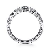 Vintage 14k White Gold Hand Engraved Curved Micro Pavé Band