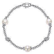 Vintage 925 Silver Chain Cultured Pearl Bracelet