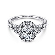 Viola 18k White Gold Oval Halo Engagement Ring angle 1