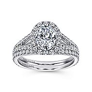 Viola 18k White Gold Oval Halo Engagement Ring angle 4