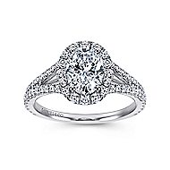 Viola 18k White Gold Oval Halo Engagement Ring angle 5