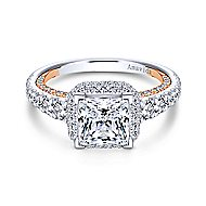Violetta 18k White And Rose Gold Princess Cut Double Halo Engagement Ring angle 1
