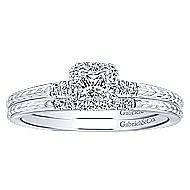 Virea 14k White Gold Princess Cut Halo Engagement Ring angle 4