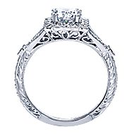 Vivid Platinum Round Halo Engagement Ring angle 2