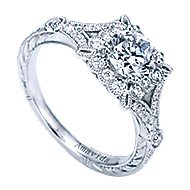Vivid Platinum Round Halo Engagement Ring angle 3