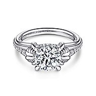 Wanda 18k White Gold Round Straight Engagement Ring angle 1