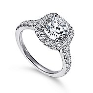 Wendy 18k White Gold Round Halo Engagement Ring angle 3
