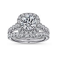 Wendy 18k White Gold Round Halo Engagement Ring angle 4