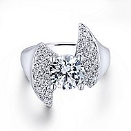 Westley 14k White Gold Round Bypass Engagement Ring angle 1