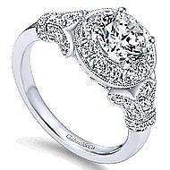 Whitney 14k White Gold Round Halo Engagement Ring angle 3