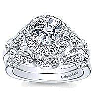 Whitney 14k White Gold Round Halo Engagement Ring angle 4