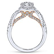 Wisteria 14k White And Rose Gold Round Halo Engagement Ring angle 2