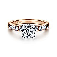 Wyatt 14k White And Rose Gold Round Straight Engagement Ring angle 1
