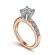 Wyatt 14k White And Rose Gold Round Straight Engagement Ring angle 3