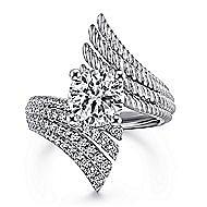 Yara 14k White Gold Round Bypass Engagement Ring angle 1