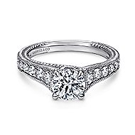 Yara 14k White Gold Round Straight Engagement Ring angle 1