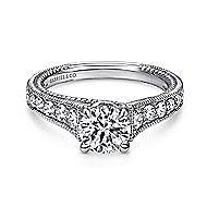 Yara 14k White Gold Round Straight Engagement Ring angle 1